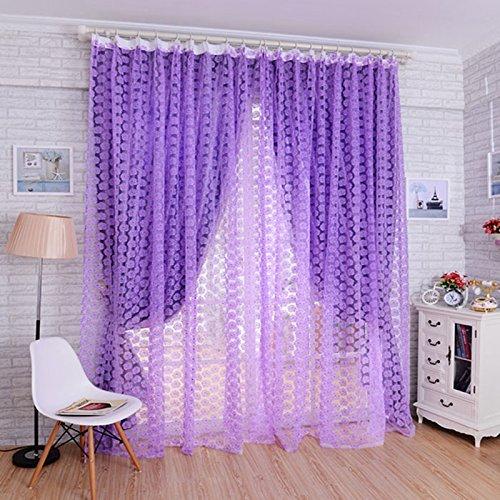 tfrdertuuigf Decorazione della Porta Finestra Tenda Drappo Pannello Rose Voile Sheer Sciarpa Tenda (Viola) DPI12305805LARGE