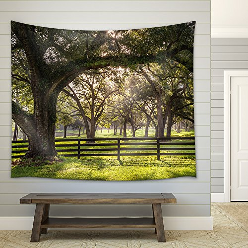 Large Oak Tree Branch with Farm Fence in the Rural Countryside Fabric Wall Tapestry