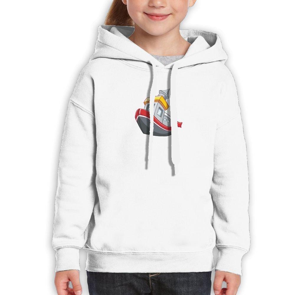 SmallHan Boy Cartoon Boat Fashion Sports White Hoodies