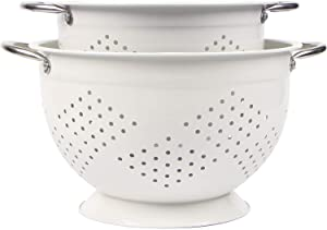 Rorence Powder Coated Steel Colander Set of 2 - White