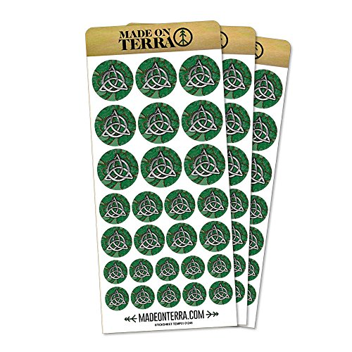 Celtic Trinity Circle Green Clovers Removable Matte Sticker Sheets Set