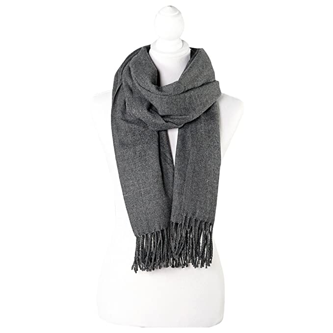 1c93a2249 Image Unavailable. Image not available for. Color: Charcoal Gray SolidColor  Fringe Womens Fashion Warm Winter Blanket Scarf Scarves