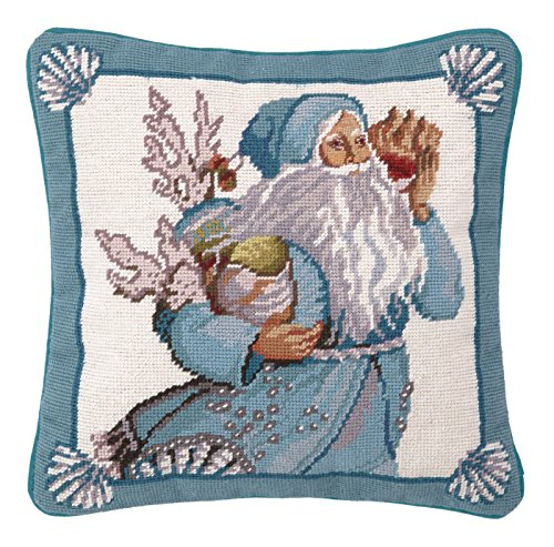 (Peking Handicraft Coral and Shells Santa Needlepoint Pillow)