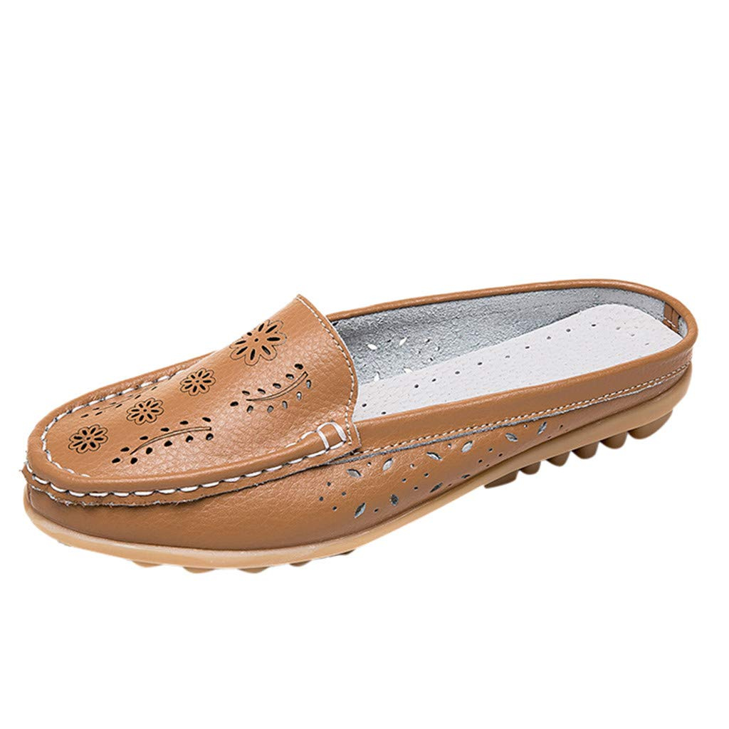 Leather Leather,ONLY TOP Women Casual Summer Breathable Slip-On Backless Slipper Mule Loafer Flats Shoes Hollow Out Yellow by ONLYTOP_Shoes