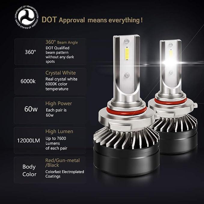 Canbus 9006 HB4 LED Headlight Bulb Car Light High//Low Beam White 288000LM 2pcs