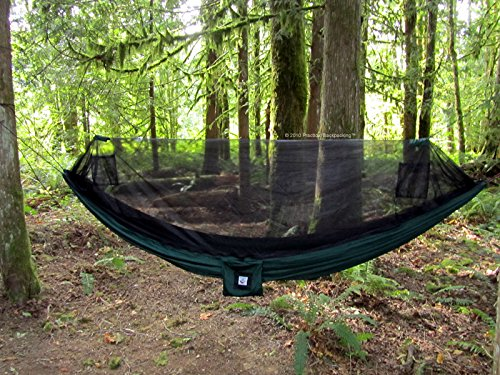 """Hammock Bliss No-See-Um No More - The Ultimate Bug Free Camping Hammock - 100"""" / 250 cm Rope Per Side Included - Fully Reversible - Ideal Hammock Tent For Camping, Backpacking, Kayaking & Travel"""