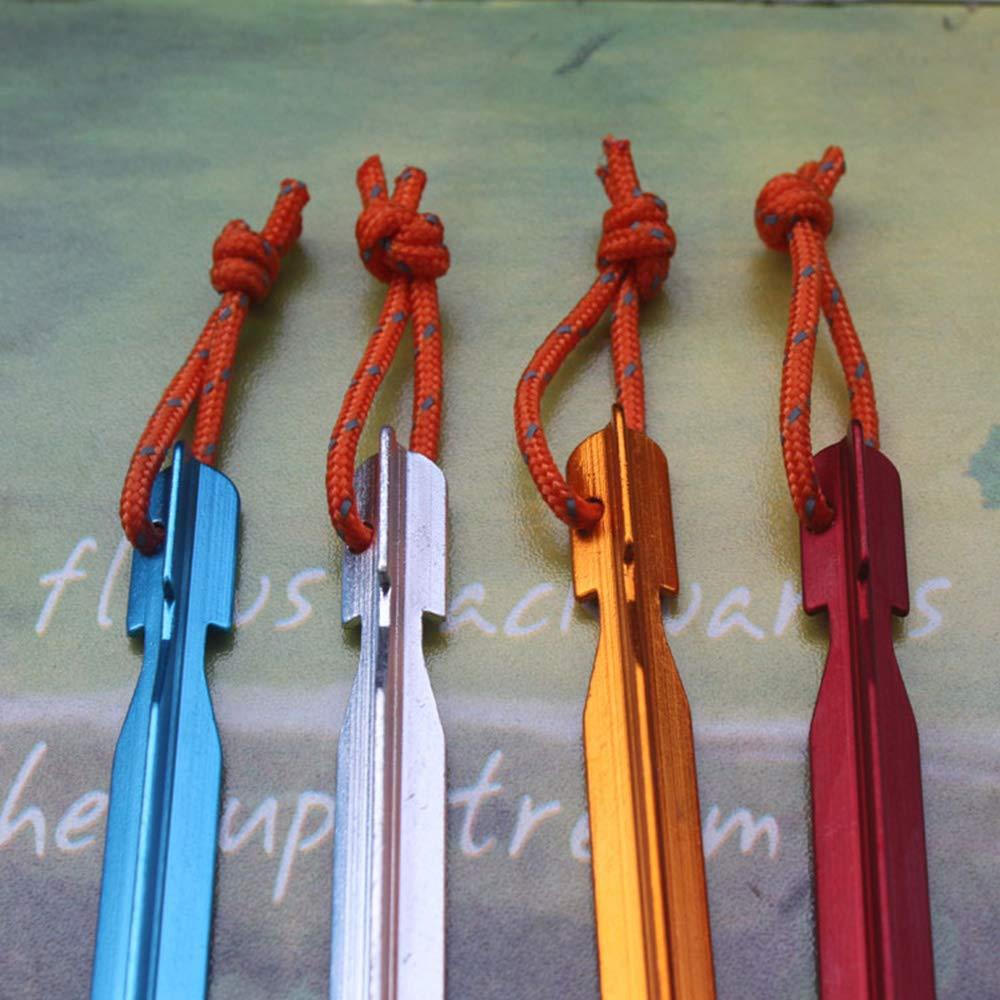 Ogquaton 8Pcs Clavos Triangulares ultraligeros con Cuerda reflexiva Aleaci/ón de Aluminio Clavijas para estacas de campa/ña Usadas para Acampar al Aire Libre Senderismo Playa ect 4 Colores
