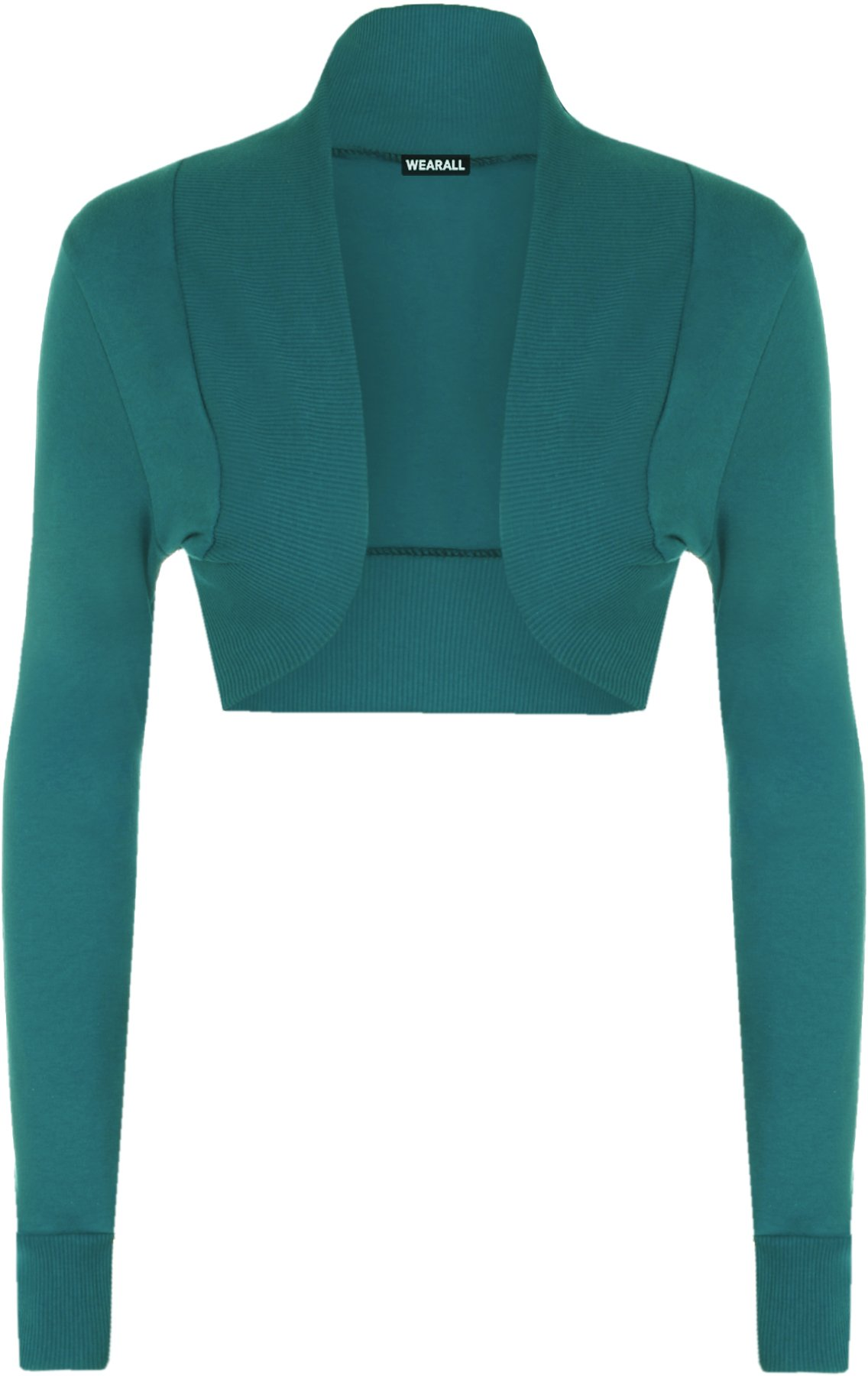 WearAll Women's Shrug Long Sleeve Ladies Bolero Top - Teal - US 4-6 (UK 8-10)