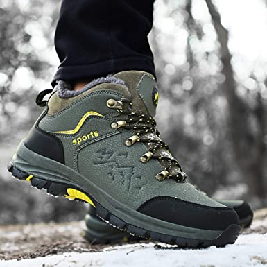 Jentouzz Mens Hiking Boots Casual Waterproof Outdoor Walking Trail Sports Shoes Non-Slip Lace-up Sneakers