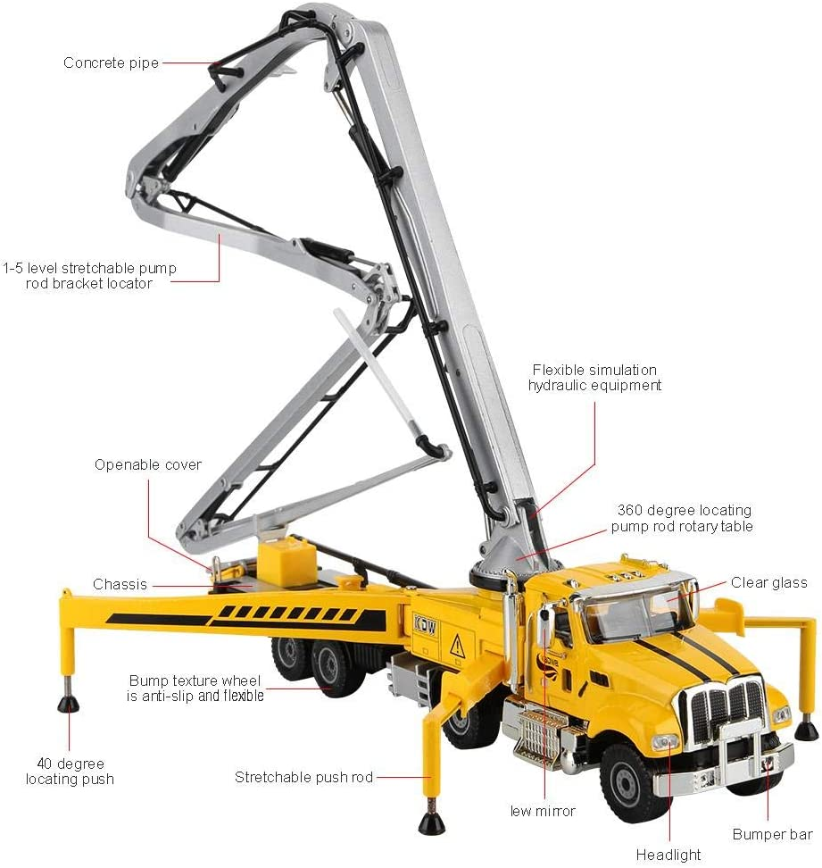 Simulated Alloy Engineering Concrete Pump Truck Model for Kids Boys Over 3 Years Old 1:55 Die-Cast Vehicles Construction Toys Zerodis