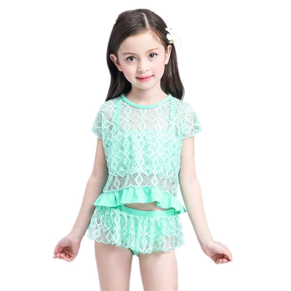 SHISHANG Kinder Badeanzug Art und Weise nette Mädchen Bikini Siamese Rock 1-8 (Jahre) Sommer lila blaue Farbe
