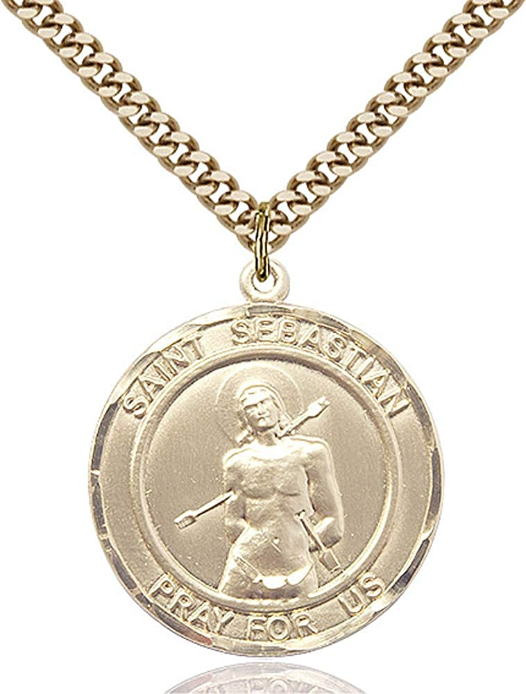 14kt Gold Filled St Sebastian Pendant Gold Plate Heavy Curb Chain Patron Saint Athletes//Soldiers 1 x 7//8