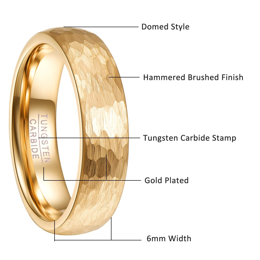 78f878f24e0 Nuncad 6mm 18k Gold Plated Hammered Tungsten Carbide Ring Domed Comfort Fit  Engagement Ring Size 5-12