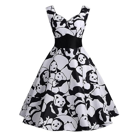 Vestidos Largos Verano,Beikoard Las Mujeres Vintage Panda Impreso sin Mangas Vestido de Verano una