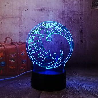 GYBYB Juego de tronos House of Targaryen Canción de hielo y fuego Acrílico 3D RGB Luz nocturna Lámpara de mesa USB Decoración para el hogar Regalo de Navidad @ Dragon_Totem_Touch_One_7_Color: Amazon.es: Iluminación