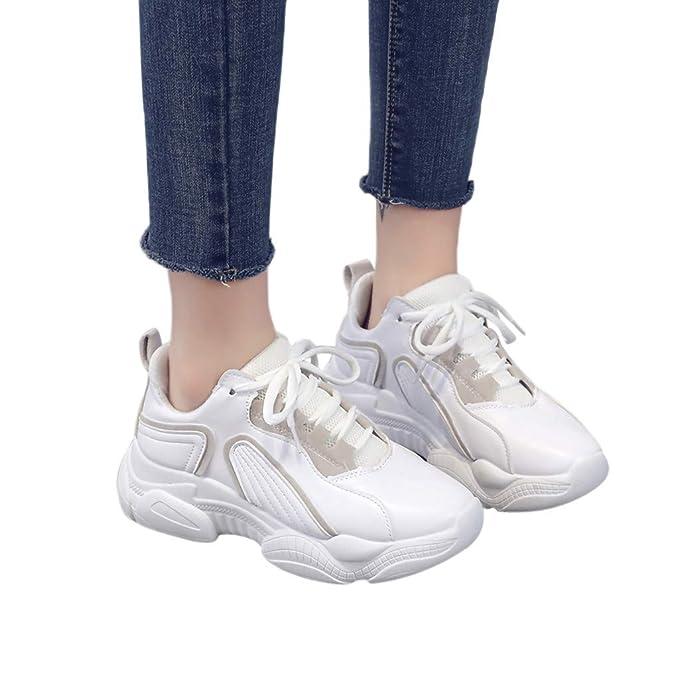 713b99aadec Zapato Deporte Mujer Con Cordones De Suela Gruesa Plataforma De Cuña  Zapatillas De Correr Para Aire Libre Deporte Montaña Y Asfalto  Transpirables Casuales ...