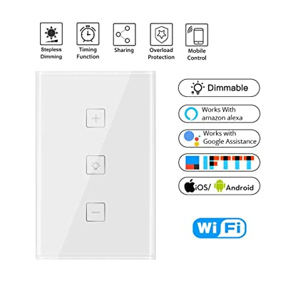 wall smart wifi touch control stepless dimmer switch timing schedule