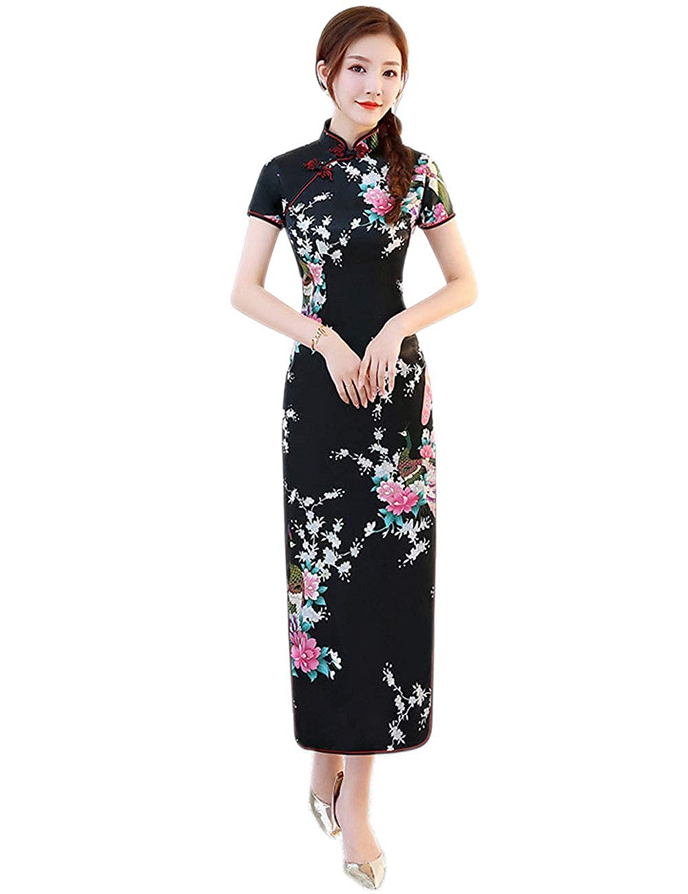 87a47445a Beloved One Women Satin Plus Size Peacock Cheongsam Chinese Dress for  Wedding or Cocktail Party at Amazon Women's Clothing store: