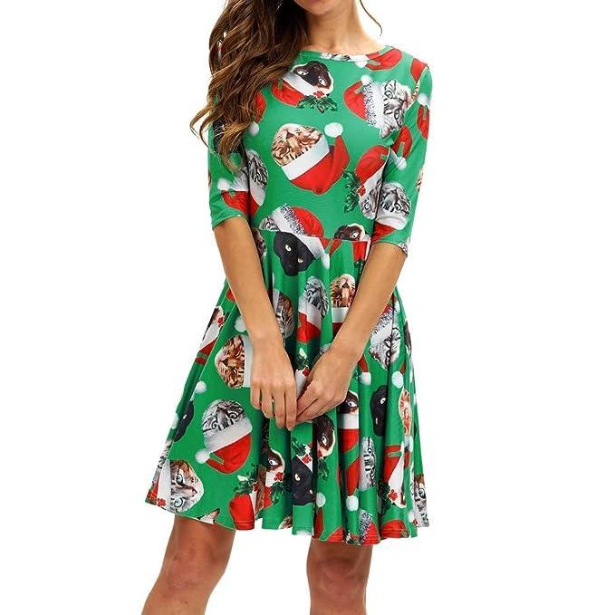 Vestido De Navidad Damas Medio Gato De Navidad Vintage Swing Mini Vestido Vestido De Manga Corta Cuello Redondo Moda Suelta Una Línea Camisa Vestidos ...