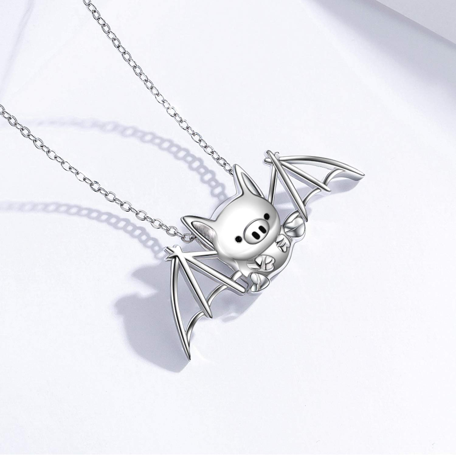 MEDWISE Cute Pig Pendant Necklace 925 Sterling Silver Funny Flying Bat Wings Pig Pendant Necklace Jewelry Birthday Gifts for Girls Women