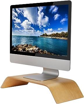 SAMDI Pantalla de Ordenador Soporte, Madera Elevador de Monitor Soporte de Sobremesa Soporte para Portátiles para Apple MacBook Air Pro iMac LCD Monitor PC Televisores Impresora (Abedul Blanco): Amazon.es: Electrónica