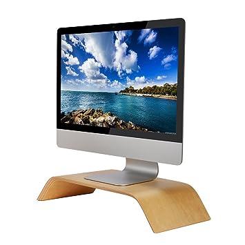 SAMDI Pantalla de Ordenador Soporte, Madera Elevador de Monitor Soporte de Sobremesa Soporte para Portátiles para Apple MacBook Air Pro iMac LCD ...
