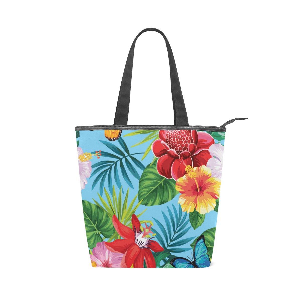 7fb3ea99b46e Amazon.com: Women Durable Canvas Handbag Tropical Palm Leaves ...