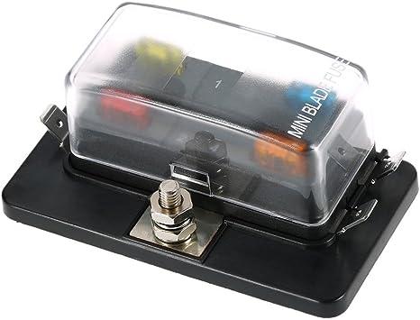 amazon.com: 4 way mini blade fuse box holder apm atm 5a 10a 25a for car  boat marine trike 12v 24v: automotive  amazon.com
