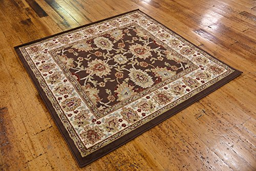 Unique Loom Voyage Collection Traditional Oriental Classic Brown Square Rug (4' 0 x 4' 0)