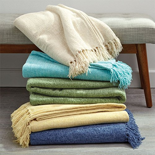 Brylanehome Pre-Shrunk Chenille Throw With Fringed Edges (Sage,0)