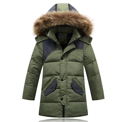iikids Niños Cuello de piel gruesa chaqueta informal d ela moda Nuevo abrigo de pluma del
