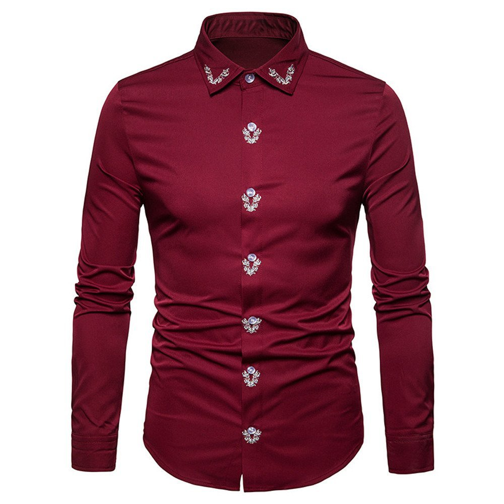 HOT SALE!! Men's Blouse- Farjing Mens Hipster Fit Long Sleeve Button Embroidery Down Shirts Tops (XL,Red)