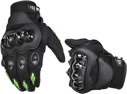 AmazonBasics Motorbike Powersports Racing Gloves - Large, Green