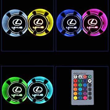 2 Pieces MENG XI Car Logo LED Cup Holder Mats Intelligent Remote Control Changing Color Led Luminous Mats LED Car Cup Holder 16 Colors Changing USB Charging Mat for Hyundai