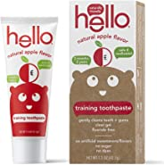 Hello Fluoride Free Training Toothpaste for Toddlers + Kids | Natural Apple Flavor, Safe to Swallow