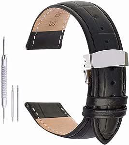 Pulseras Hombre Pulseras Mujer Reloj de Cuero Hebilla de liberación rápida implementación para