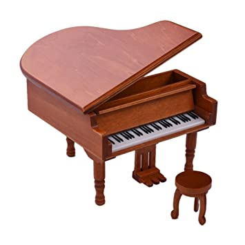 Samber Musical Instruments Collection Mini Piano Music Box With Stool Miniature Wooden Decorative Ornaments Wood