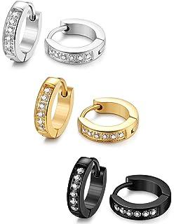 Amazon Com Stainless Steel Womens Hoop Earrings For Men Huggie Ear