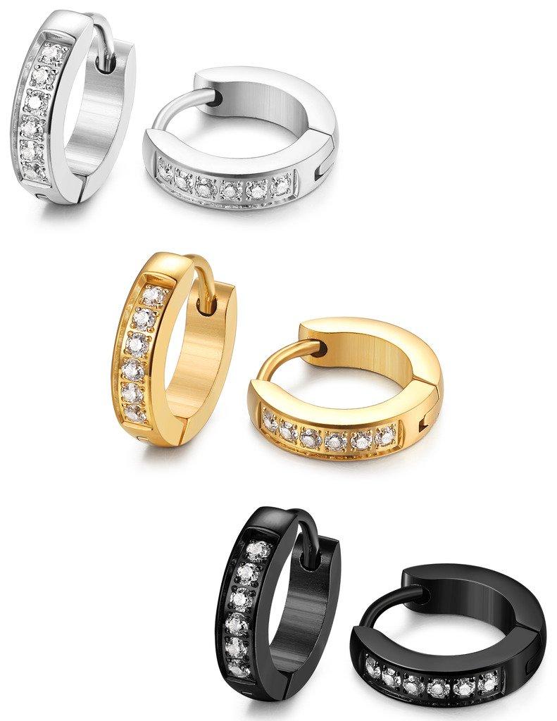 FIBO STEEL 13MM Stainless Steel Small Hoop Earrings for Men Women Huggie Earrings CZ Inlaid 3 Pairs