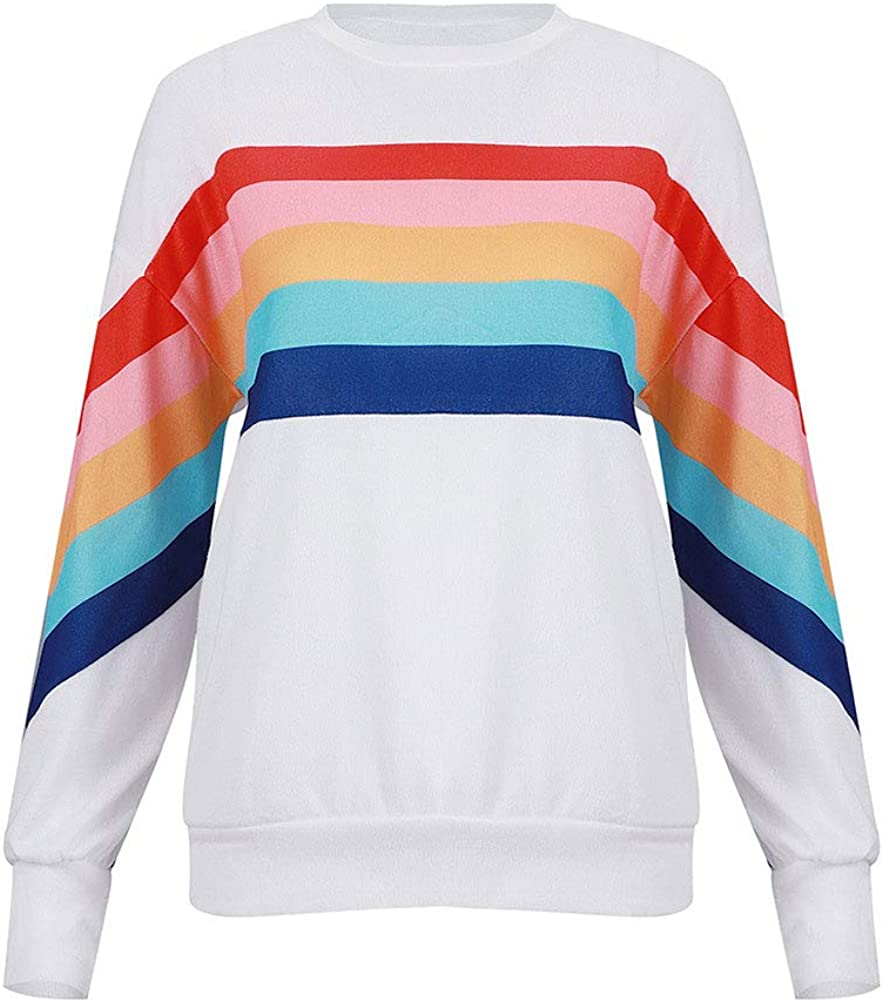 FromNlife Women Rainbow Striped Spliced Pullover Tops Colorful Casual Sweatshirts