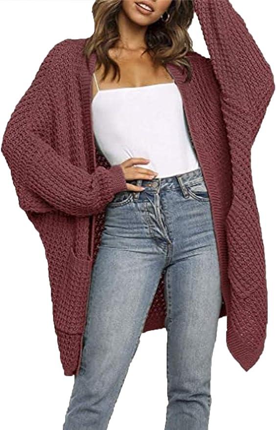 Womens Fashionable Knit Sweaters Loose Long Pocket Cardigans Jacket Coat