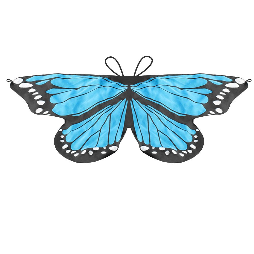 LIVEBOX Monarch Butterfly Wings Shawl Cape Scarf Fanciful Fabric Dance Wing Dress Up Kids Costume Accessory (Blue)