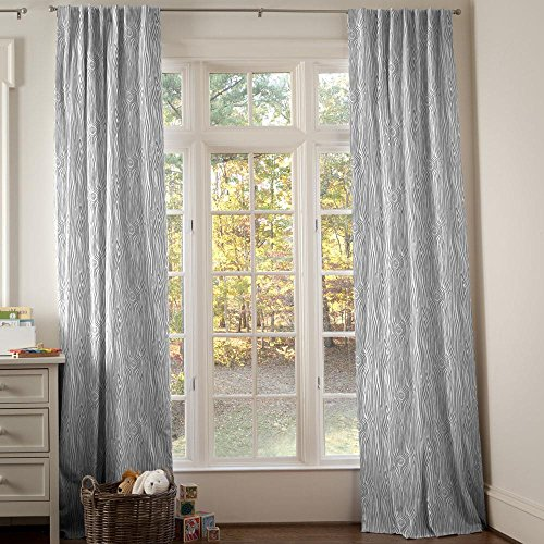 Carousel Designs Gray Woodgrain Drape Panel 96-Inch Length Standard Lining 42-Inch Width by Carousel Designs