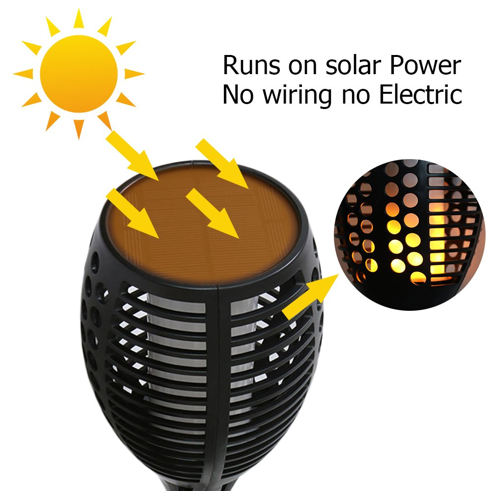 Solar Tiki Light By Kshioe,96LED Waterproof Flickering Flames Torches Lights Outdoor Landscape Decoration Lighting Dusk to Dawn Auto On/Off Security Path Light for Garden Patio Deck Yard Driveway (8) by Kshioe (Image #4)