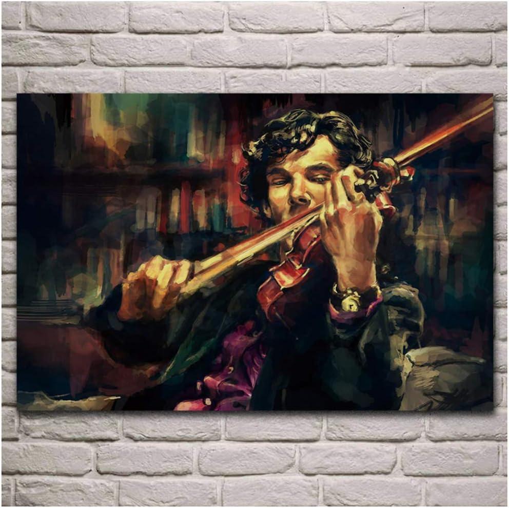 Sherlock Holmes tocando violín retrato obra de arte póster sala de estar hogar pared lienzo decorativo impresión de arte Regalos para padres y amigos -60x80cm Sin marco
