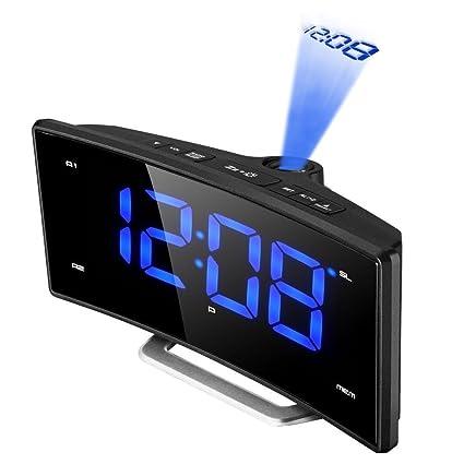 Proyección Reloj Despertador, pictek FM Radio despertador/radio despertador/Digital despertador, USB