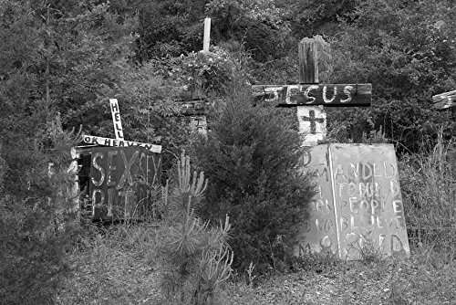 (24 x 36 B&W Giclee Print Rough Wooden Crosses Peeling Hand-Lettered Signs Bearing Bible Scripture Fragments are Nailed to Fences, Trees Each Other in The Late W.C. Rice' 2010 Highsmith 87a)