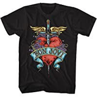 Bon Jovi Heart Black Adult T-Shirt Tee