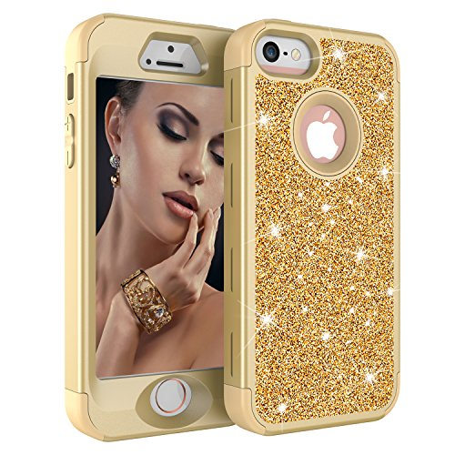 iPhone SE/5S/5 Case, UZER Three Layer Shockproof Luxury Glitter Sparkle Bling Diamond Hard PC Soft Silicone Combo Hybrid Impact Defender Full-Body Protective Case Cover for iPhone SE/5S/5