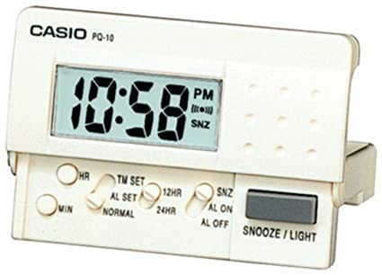 Reloj Despertador CASIO PQ-10-7E - Despertador Digital de viaje con luz y repetición. Color blanco